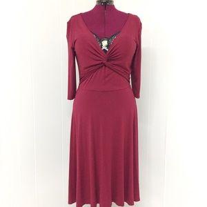 L VENUS Wine Red Long Stretchy Wrap Dress